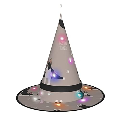 Yoga Dogs Poses And Exercises French Bulldog Halloween Decorations Outdoor Hanging Lighted Witch Hat Decorations Halloween Lights for Outdoor Halloween Decorations, Tree, Porch, Yard