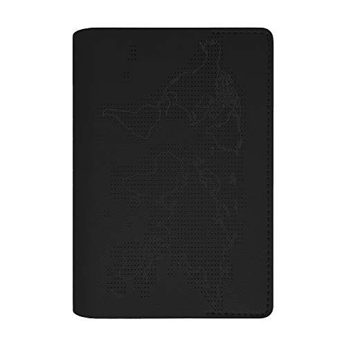 Funda porta pasaporte documentos de viaje con mapa del mundo para marcar los países visitados con aguja e hilo incluidos apto para regalo, niños, familia Negro Negro
