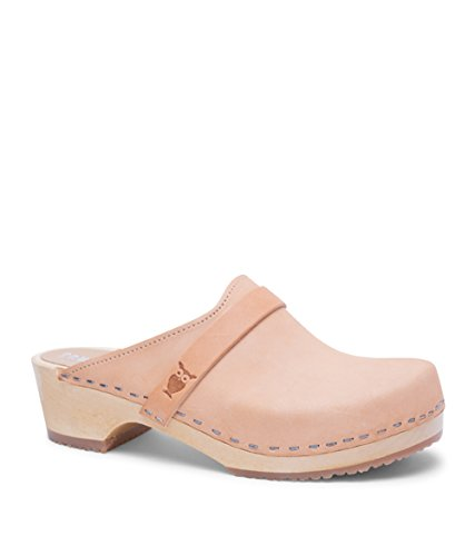Sandgrens Swedish Low Heel Wooden Clog Mules for Women, US 8-8.5 | Tokyo Nude Veg, EU 39