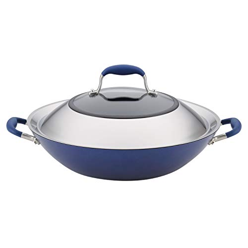 Anolon Advanced Hard Anodized Nonstick Stir Fry Wok Pan with Lid 14 Inch Indigo Blue
