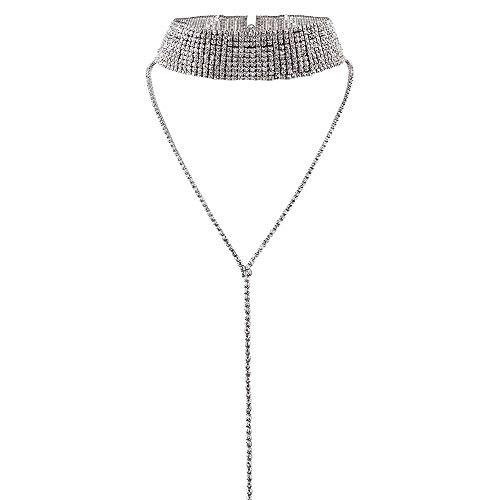 Top WHY Sexy Collar de Gargantilla en Capas de múltiples Capas de Cuello Ancho Collares de Cadena de la Borla Collares para Las Mujeres Rhinestone Choker