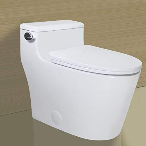 WinZo WZ5081 Elongated One Piece Toilet Low Profile, High Efficiency Single Side Flush 1.28 GPF with Soft Close Seat White