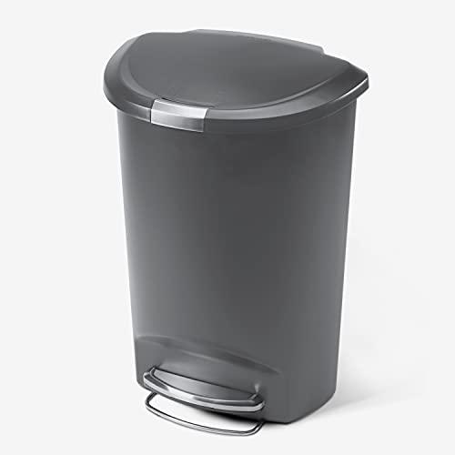 simplehuman 50 Liter / 13 Gallon Semi-Round Kitchen Step Trash Can, Grey Plastic