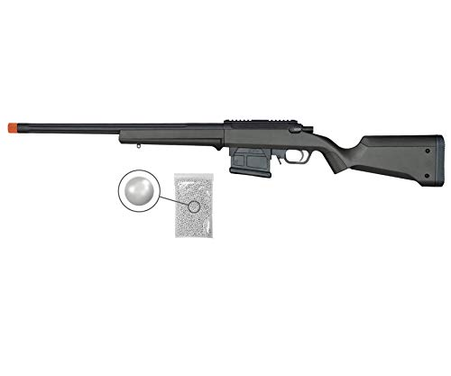 Umarex Elite Force Amoeba AS-01 Striker Gen2 Airsoft BB Sniper Rifle, Black with Wearable4U Pack of 1000 6mm BBS Bundle (Black)