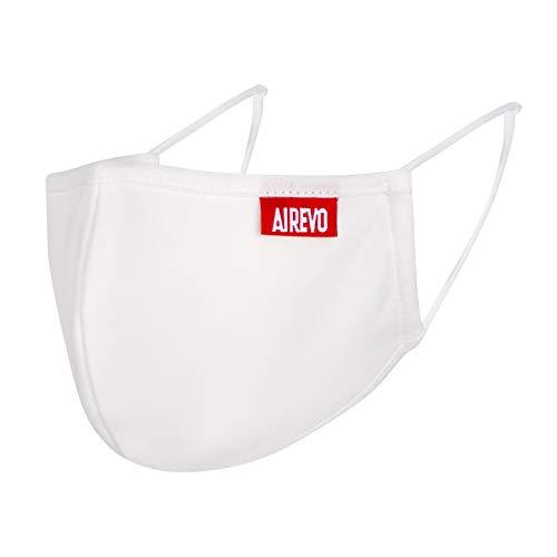 2X AIREVO Communitymaske, Gesichtsmaske, Alltagsmaske, Mund-Schutz Stoff-Maske mit Gummiband wiederverwendbar, waschbar und verstellbar, mit Nasenbügel, weiß (2, L)