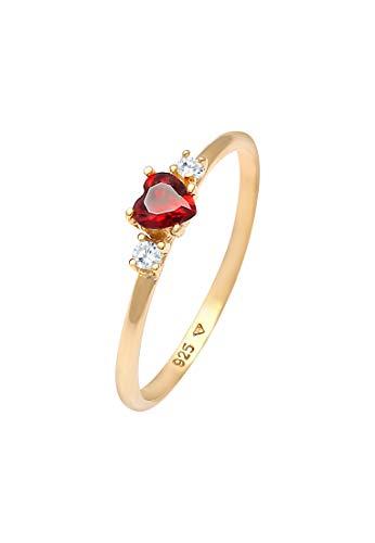 Elli Anillos Damas Corazón Zirconia Rojo Amor en Plata Esterlina 925 bañada en Oro