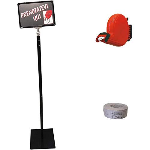 KIT Piantana di Sostegno per Distributore Eliminacode Ferlabel + Chiocciola + 1 Rotolo da 2000 Scontrini