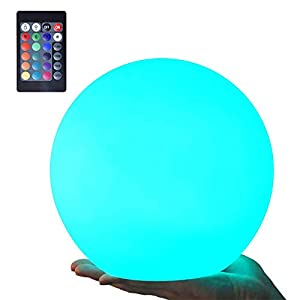 LOFTEK LED Night Light Ball, 8-inch 16 RGB Colors and Dimmable Globe Light with Remote, Upgraded Folding Handle, Seamless Matte Housing, Rechargeable IP65 Floating Pool Light, for Nursery or Decor