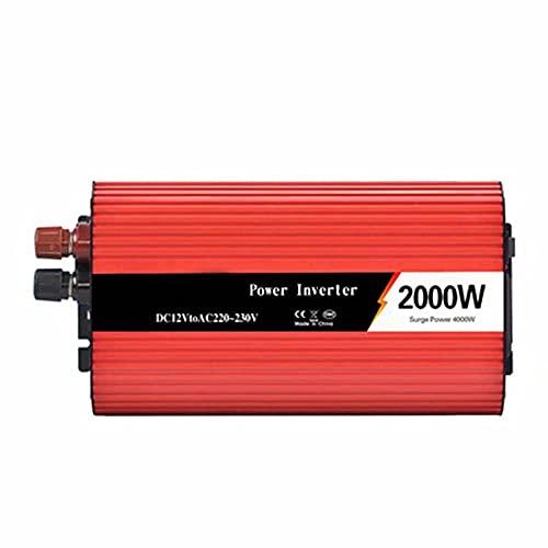 BJH Inversor Solar inversor de Corriente para automóvil de 2000 W, CC a CA 12 V a 220 V con Puertos de Carga USB Dobles y Toma de Corriente CA, convertidor de Voltaje automotriz de ond