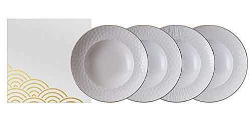 TOKYO design studio Nippon White 4-er Pasta-Teller-Set weiß, mit Goldrand, Ø 25,8 cm, ca. 5,3 cm hoch, asiatisches Porzellan, Japanisches Design, auch als Suppen-Teller verwendbar