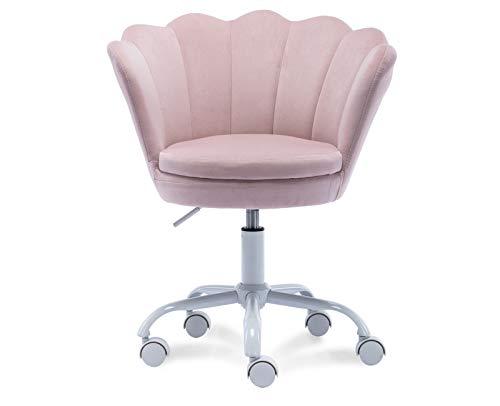 DM Kids Desk Chair Ergonomic Reading Study Computer Chair for Students Cute Modern Upholstered Velvet Swivel Rolling Arm Chair for Girls Bedroom, Seashell Back Adjustable Vanity Chair (Light Pink)
