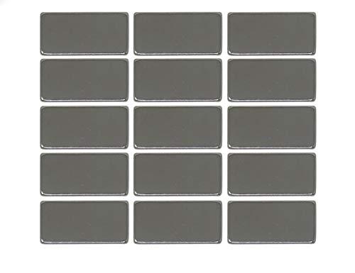 15 Stück Neodym Block-Magnete | extra starke Magnetisierung N52 - rechteckige Dauermagnete 20x10x2mm | Büro/Kühlschrank/Whiteboard/Schule/Notizen/Küche