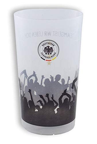 DFB fanbeker met 4 sterren Duitsland motief drinkbeker waterbeker bierbeker fanbeker transparant zwart rood goud voetbal EM WK party 0,3 liter (1 stuks)
