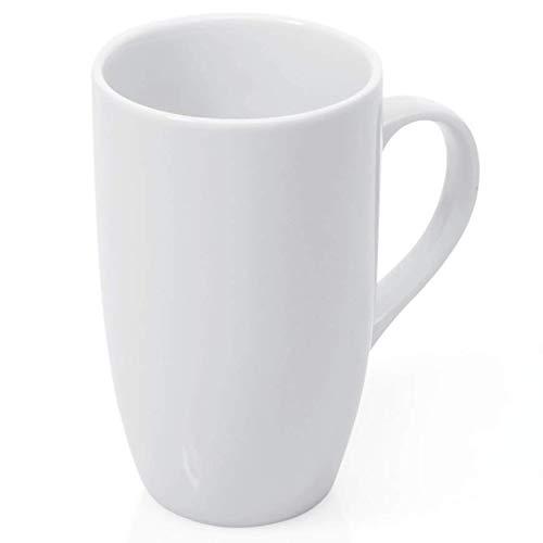 Gastro Spirit - 6-er Set große Kaffee-Becher/Kaffee-Tassen - 450 ml, Porzellan, eckige Seiten, Spülmaschinenfest, 6 Setgrößen (6, 12, 18, 24, 30, 36) - Hoteltassen, Teetassen