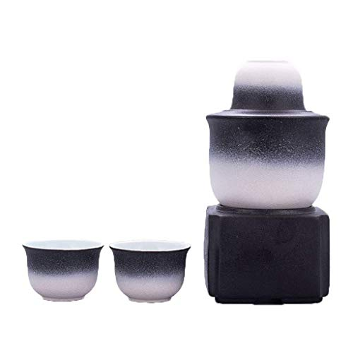 ZNGG Black and white sake set, ceramic wine glass with heater and candle holder (6-piece set) are the best gifts for family and friends 95