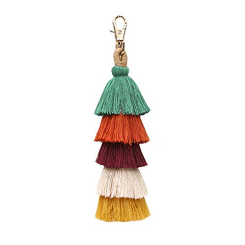 【 MATERIAL 】The tassel kechain is handmade by tassel with stainless steel key ring and hook. 【 SIZE 】The bag charm length is 7.87'', perfect length for hanging. 【 TASSEL KEY CHAIN 】Colorful cotton tassel keychian help you to see your keys easily, eas...