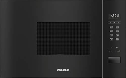 Miele M 2230 SC - Microondas empotrable, control de sensor lateral/programas automáticos/mantenimiento automático del calor/iluminación LED/horno de acero inoxidable/negro obsidiana