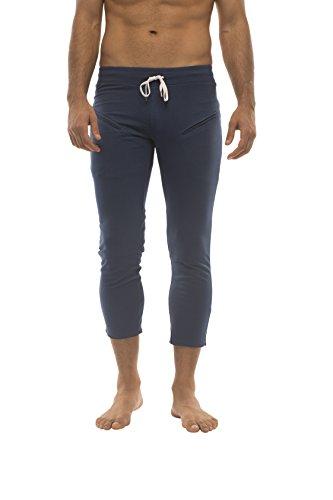 Mens 3/4 or 4/5 Length Zipper Pocket Capri Yoga Pant (Medium, Royal Blue)