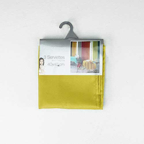 douceur d'intérieur 3 serviettes de table 40x40 cm essentiel tilleul