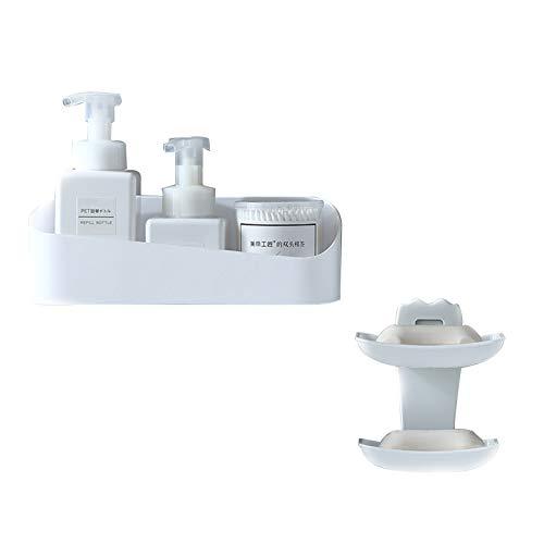 Lin Xin Estantería de Pared Bathroom Rack/Soap Box Kit Instalación sin Golpe Multifuncional Estante de Pared Multifuncional Hallow Infermo Design Montado en Pared Rack Dormitorio Cocina