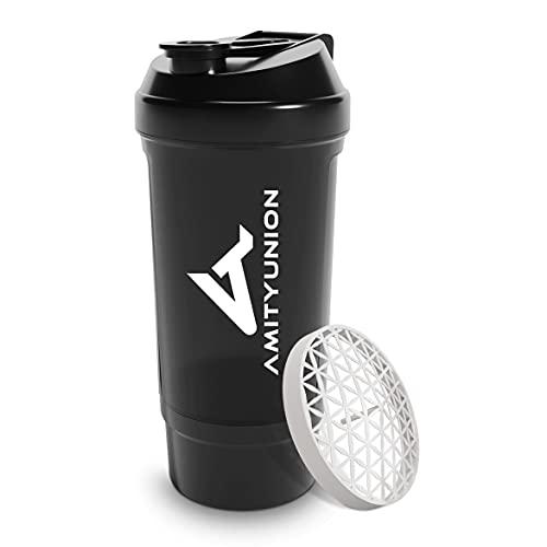 Shaker per proteine FYRA 700 ml con contenitore - scomparto polvere - shaker per proteine, senza BPA con setaccio e scala per frullati di siero di latte e BCCA, (Black)