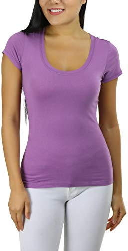 ToBeInStyle Women's Slim Fit Scoop Neck S.S. Longline Tee - Lavender - Medium