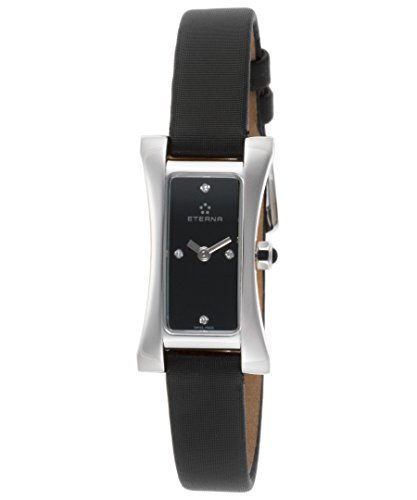 eterna 2610–41–46–1120Damen-sahida Diamant Schwarz Satin und Zifferblatt Armbanduhr