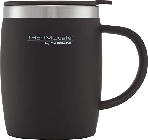 ThermoCafé Thermobecher aus Kunststoff und Edelstahl, 450 ml, Soft Touch Black, 14.0 x 9.0 x 12.0 cm