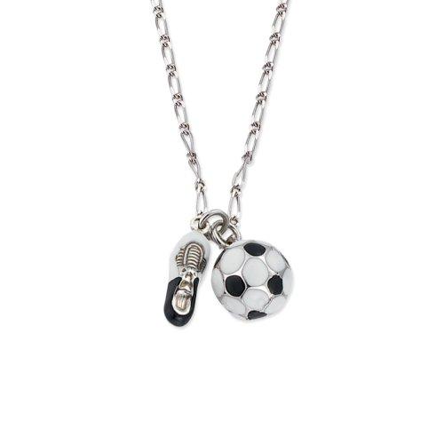 SCOUT Kinderschmuck, Collier 925 Sterling Silber, 35-39cm, Fußball und Schuh handemailliert