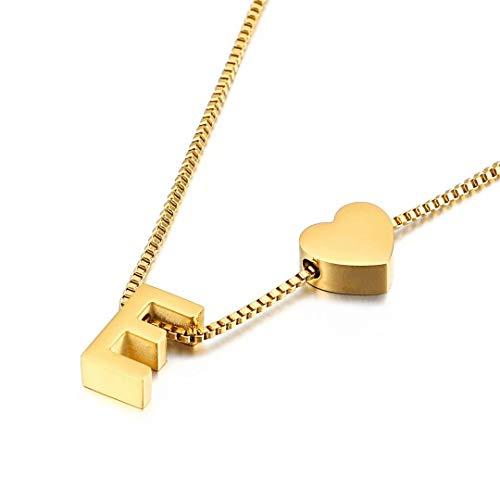 Qings Collar con Colgante de Amor Chapado en Oro Letra E Alfabeto de Moda de corazón Exquisito A-Z como Regalo de cumpleaños para Mujeres y niñas