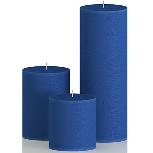 CANDWAX Assorted Candles Pillar - Set of 3 inch Pillar Candles Includes 3', 4' and 8' Unscented Candles - Long Burning Candles Ideal as Wedding Candles and Candles for Home- Blue Candles