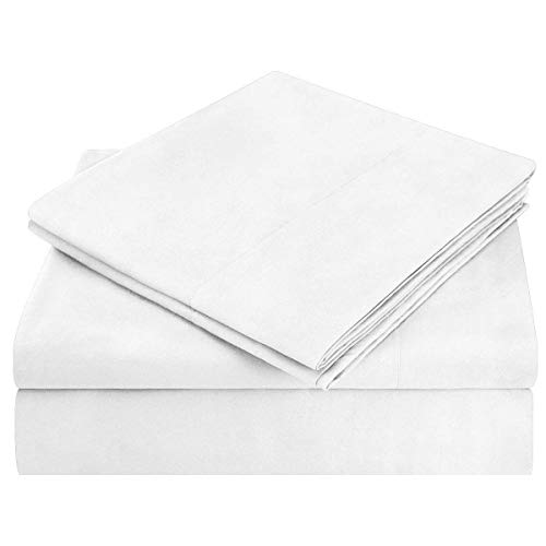 HOMEIDEAS Bed Sheets Set Extra Soft Brushed Microfiber 1800 Bedding Sheets - Deep Pocket, Wrinkle & Fade Free - 4 Piece(Queen,White)