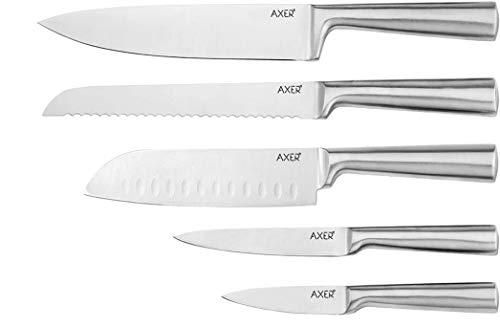 Axer Küchenmesser Set mit 5 Edelstahlmessern für Köcher (Silber)