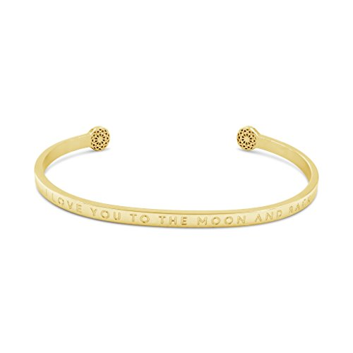 Simple Pledge - I Love You to The Moon and Back - Blind - Armreif in Gold mit Gravur für Damen