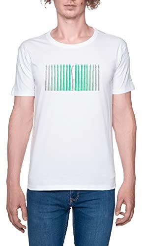 Artystyczny Szparag Linia Koszulka Męska Biała z Okrągłym Dekoltem Lekka Codzienna z Krótkim Rękawem T-Shirt Mens White