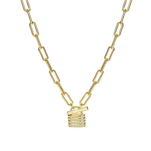 Collar con Colgante De Bloqueo Cadena De Clip De Papel De Oro De 18K Grueso Hipoalergénico Collares Chockers para Mujer con Cierre De Palanca Regalos Personalizados para Mujeres, Niñas,Oro
