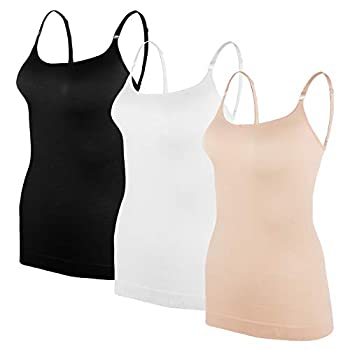 BANG BANG Seamless Compression Cami Tops with Adjustable Straps,3 Pack M