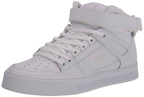 DC Women's Pure HIGH-TOP V Skate Shoe, White/White, 9.5