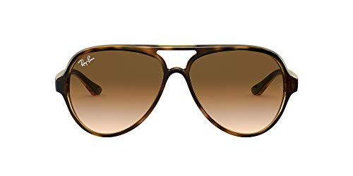Ray-Ban RB4125 Cats 5000 Aviator Sunglasses, Light Tortoise/Brown Gradient, 59 mm