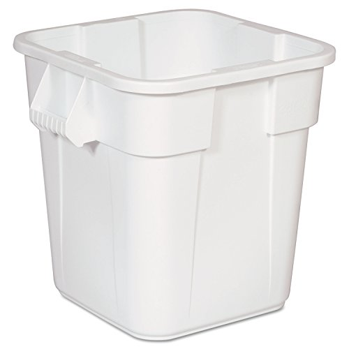 Rubbermaid Commercial Products BRUTE Square Bin Storage Container without Lid, 28-Gallon, White (FG352600WHT)