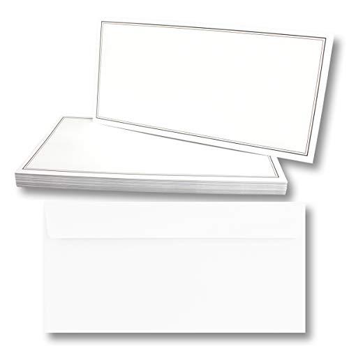 100x Trauerkarten Set mit Umschlag DIN LANG - Motiv zweifach schwarzer Trauerrand - Danksagungskarten Trauer Ohne Fenster - würdevolle Beileidskarte