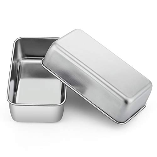 Loaf Pan Set of 2, P&P CHEF 9-inch Bread Pans, Stainless Steel Loaf Toast Baking Pans For Bread Meatloaf Lasagna Cake, Healthy & Non Toxic,Deep Side & Smooth Roll, Oven & Dishwasher Safe