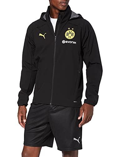 PUMA BVB Rain Jacket with Sponsor Logo Chaqueta Impermeable, Hombre, Black-Cyber Yellow, XL