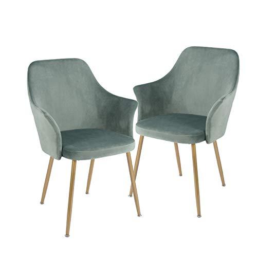 H.J WeDoo 2er Set Samt Esszimmerstuhl mit Gepolstertem Rücken und Sitz, Retro Stuhl mit Armlehne und Metall Gold Beine - Grün