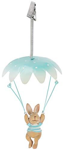 com-four® Coniglietto Decorativo Paracadute, Coniglietto Pasquale da Appendere, Decorazione Divertente per Pasqua [la Selezione Varia] (01 Pezzo - Coniglio con Paracadute)