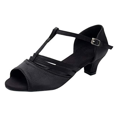 Damen Standard & Latein Satin Tanzschuhe Elegante Sandalen Salsa Tango Dance Schuhe T-Strap Mittelhohe Weicher Boden Schlüpfen Party Hochzeit Celucke