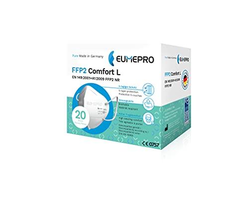 EUMEPRO FFP2 Comfort L I 20 Stück FFP2 Maske CE Zertifiziert [Pure Made in Germany] Partikelfiltrierende Halbmasken FFP2 NR als Mund-Nasen-Schutz I Zertifizierungen: EN 149:2001+A1:2009, CE 0757