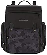 Eddie Bauer Places & Spaces Camouflage Compass Diaper Bag Backpack, Cooler Bottle Pockets and Changing Pad Included, Black and Camo