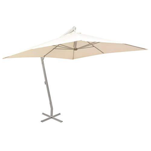 Sombrilla Colgante, Parasol Excéntrico de Jardín con Manivela, Protección Solar UV, Parasol Cuadrado para Jardín 300 x 300 cm, Arena