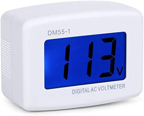ARCELI AC 80-300V LCD Monitor de Voltaje del voltímetro Digital, AC 110V 220V Indicador de Voltaje Línea de alimentación Volt Monitor de Prueba(Enchufe británico)